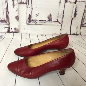 Vintage GUCCI red leather pumps heels shoes 39.5